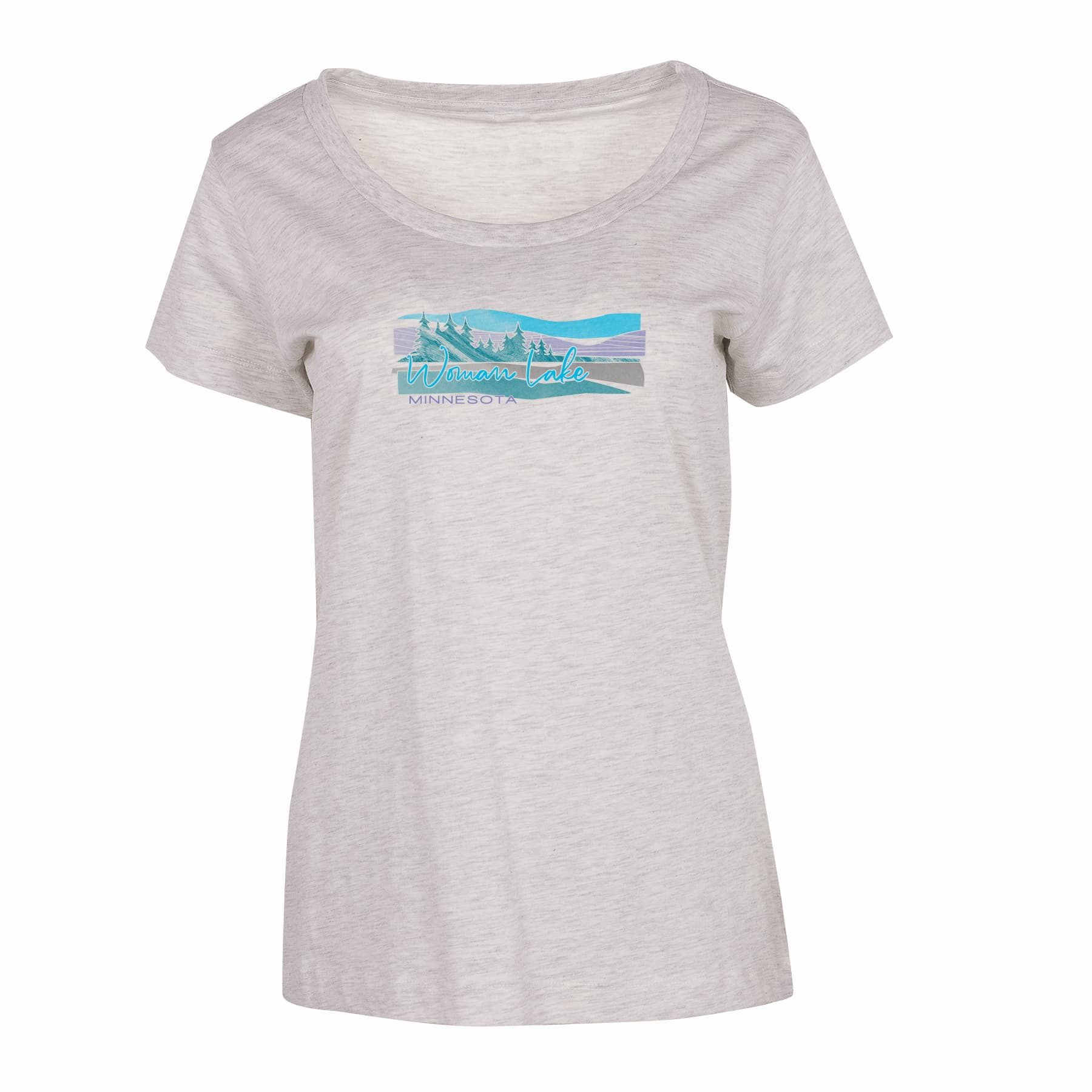 Women's Oatmeal Heather Short Sleeve Crew Neck Tee